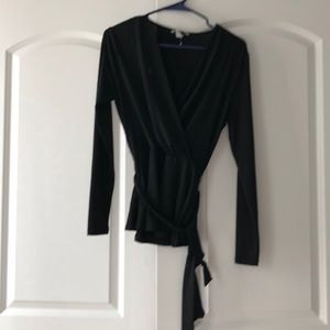 Black long sleeve top size small with cloth belt
